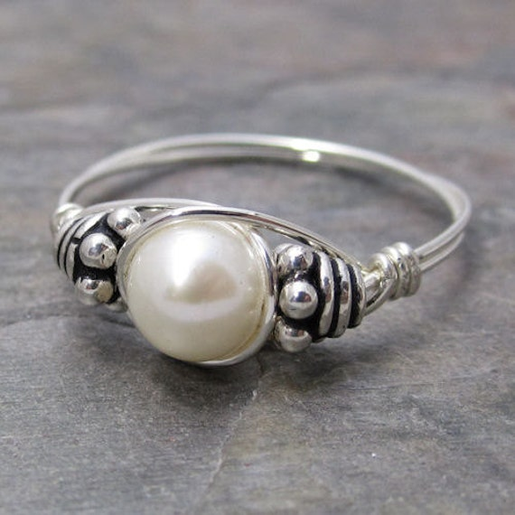 White Freshwater Pearl Bali Sterling Silver Wire Wrapped Ring ANY size
