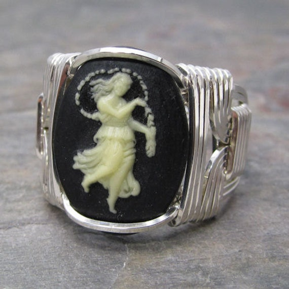 Virgo Zodiac Sign Acrylic Cameo Sterling Silver Wire Wrapped Ring ANY size
