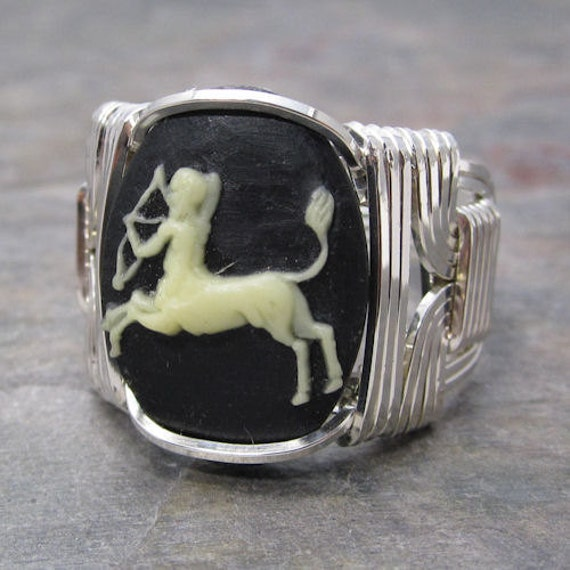 Sagittarius Zodiac Sign Acrylic Cameo Sterling Silver Wire Wrapped Ring ANY size