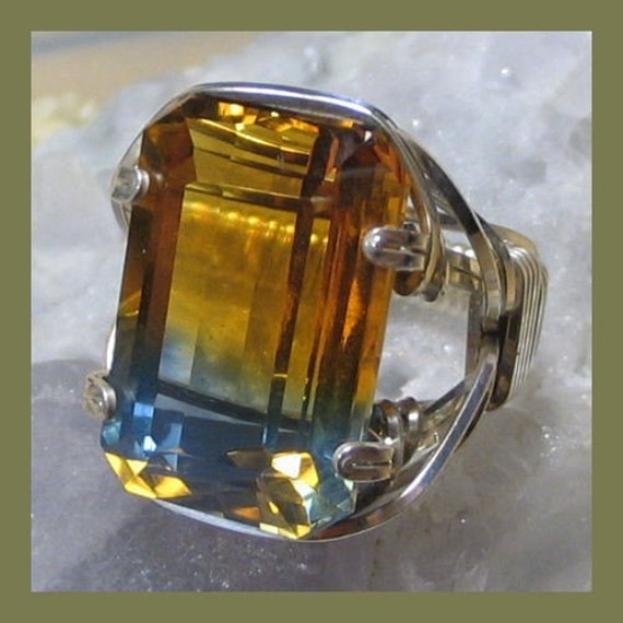 Bi-Colored Citrine Facet Silver Wire Wrap Ring ANY size - Free Shipping in US