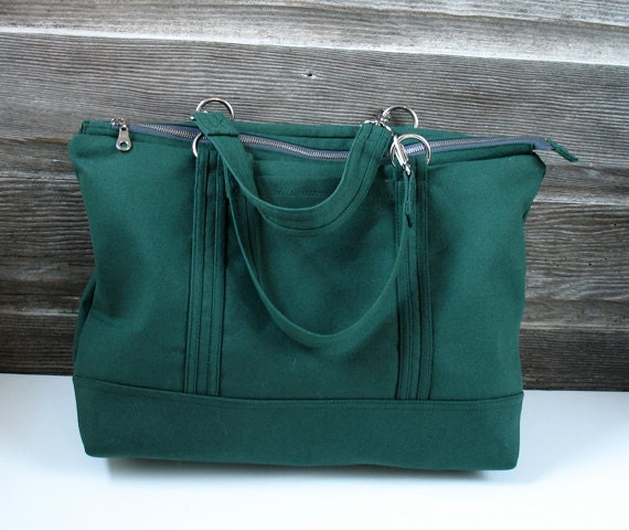 Zipper Tote  Bag - Hunter Green - by TWO HOLD