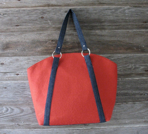 Red Vintage Market Bag - Upcycled Carryall Tote  - Market Tote / Free Shipping