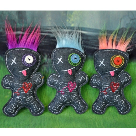 Large Embroidered Voodoo Doll Pin Cushion Stuffie