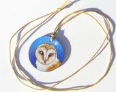 barn owl necklace painting original on wood