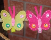 Boutique bling BUTTERFLY felt clippies Buyer CHOICE pink green clip