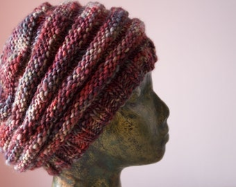 Ripple Knitted Wool Slouch Beret