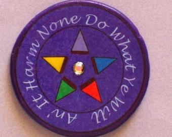 HARM NONE Pentagram Talisman Amulet Witch Wicca Pagan Gothic OOAK