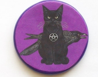 Pagan CAT and RAVEN Purple Talisman Amulet Witch Wicca