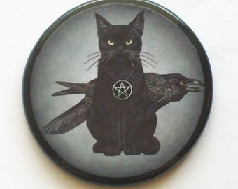Pagan CAT and RAVEN Black Talisman Amulet Witch Wicca