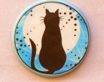 CAT in Full MOON Talisman Amulet Witch WIccan Gothic Pagan Totem