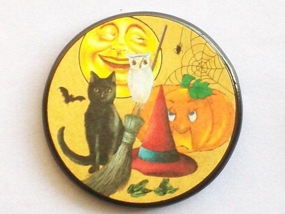 Vintage Cat Owl Pumpkin Bat Spider Broom Hat Frogs Talisman Amulet Witch Wicca