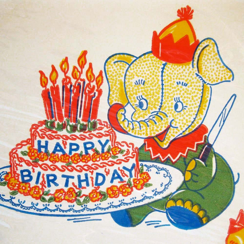 Vintage Birthday Party Paper Plates Sealed in Original