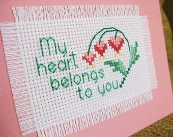 Cross stitch note card - My Heart Belongs to You