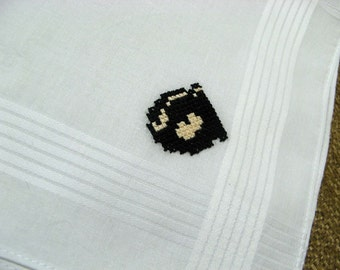 Nintendo cross stitch handkerchief - Bullet Bill