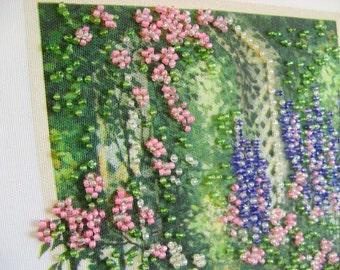 Beadpoint picture - Garden Serenade framed