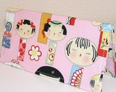 Pink Yui Kokeshi Gingham Fabric Checkbook Cover Holder....WORKS WITH TOP AND SIDE TEAR CHECKS