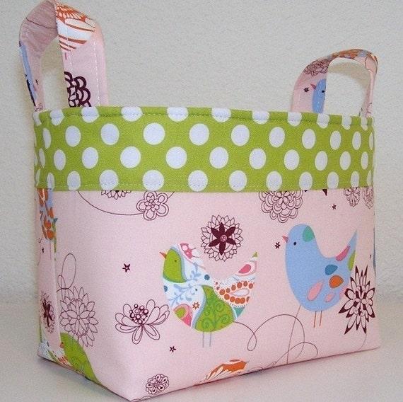WATERPROOF LINING.... Fabric Organizer Bin Basket...Pink Starling Polka Dot...FREE SHIPPING