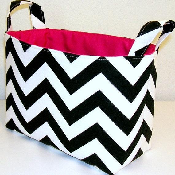 Chevron Black White Chevron Slub Zig Zag Hot Pink Accent Fabric Organizer Bin Basket