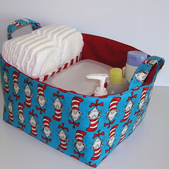 Dr. Seuss Cat in the Hat Heads Fabric Organizer Bin Basket Diaper Caddy, Dividers... Ready to Ship