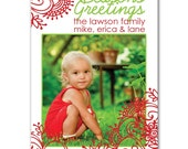 Fresh Flowers Holiday Photo Christmas Card Printable