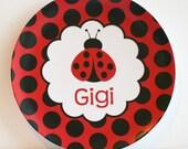 Ladybug - Red and Black -   Personalized Melamine Plate