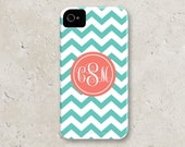 "iPhone 5 Case - personalized custom iPhone cell phone case - ""aqua chevron with coral script monogram"""