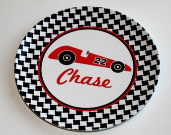 Personalized Melamine Plate - Race Car