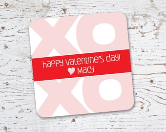Valentine Stickers or Tags . xoxo . for Favors, Treat Bags and Envelope Seals