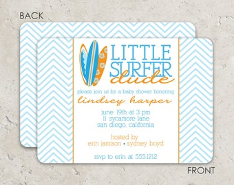"""surf board baby shower . sip and see invitation chevron  """"little surfer dude"""""""