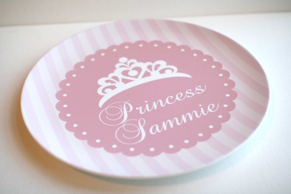 Princess Crown - Pink or Purple -   Personalized Melamine Plate