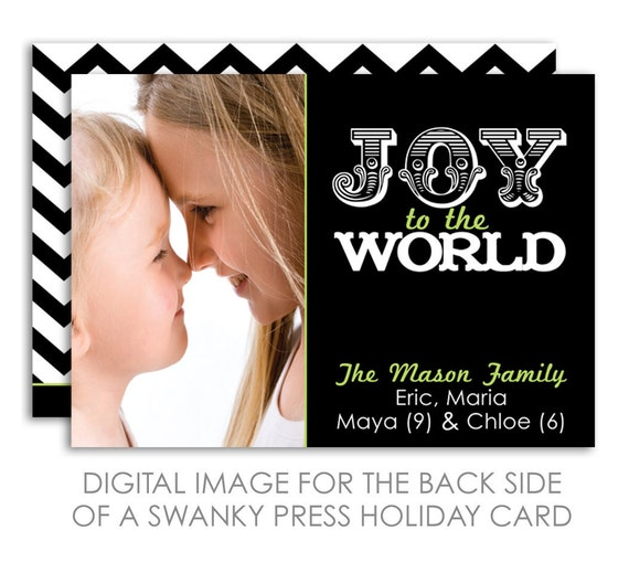 Holiday / Christmas Photo Card Printable / Back of Card Design Option
