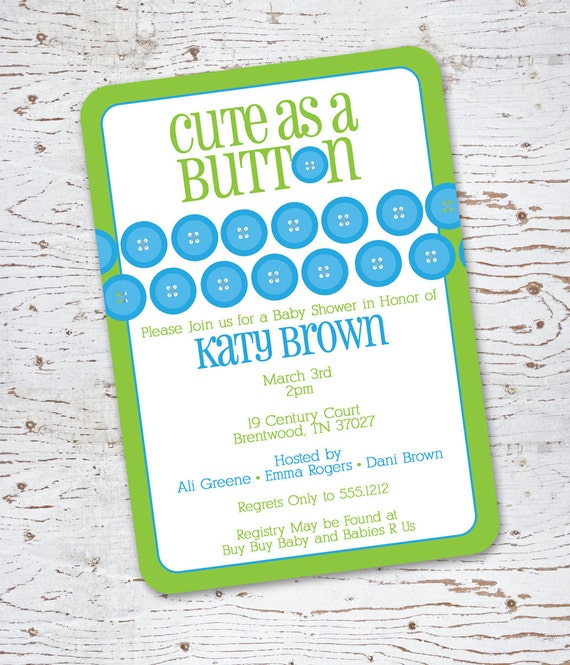 Sip and See Baby Shower Invitations - Cute As a Button (green and blue)