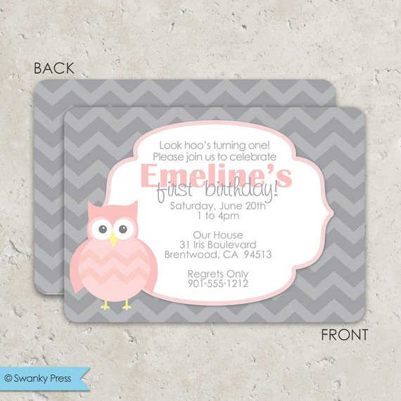 pink and gray chevron owl invitations birthday or baby shower