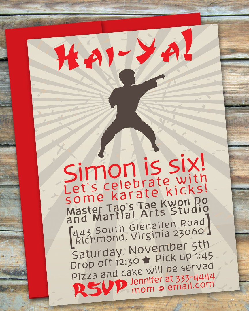 Karate Martial Arts Tae Kwon Do Party Birthday – Martial Arts Birthday Invitations