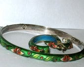 Vintage Cloisonne Bangle Bracelet with Matching Earrings