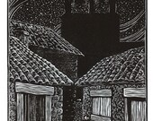 Early Morning, Via Lactea - original linoleum block print