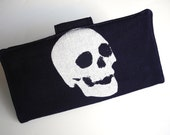 Silver skull print dark blue fabric wallet