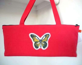 Handbag, Hot Red Baguette Bag with Butterfly Applique
