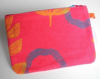 Hot pink cotton canvas zipper pouch