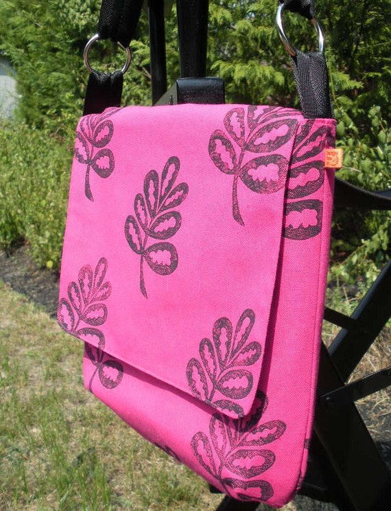 Pink canvas messenger bag, bright for spring and summer, adjustable strap, Free Ship US