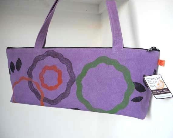 Handbag, purse, purple, canvas, handprinted, one of a kind, long skinny bag