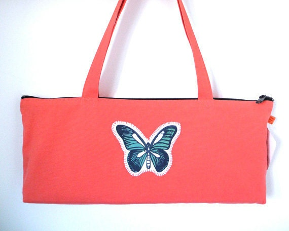 Spring fashion, bright melon baguette bag with butterfly applique, Free Ship US
