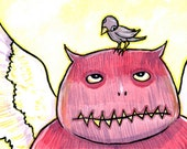 Monster Bird Illustration, Original Pink and Yellow Art