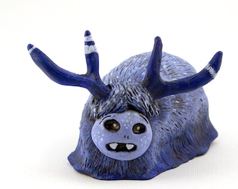 Blue Monster Clay Art Object Polymer Clay with Antlers