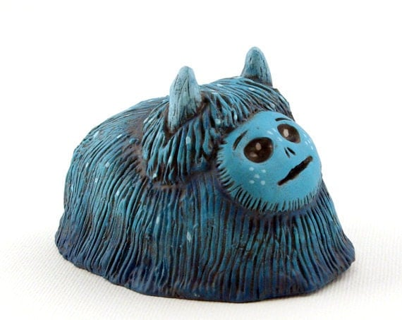 Polymer Clay Monster Figurine Teal Blue Art Object Creature