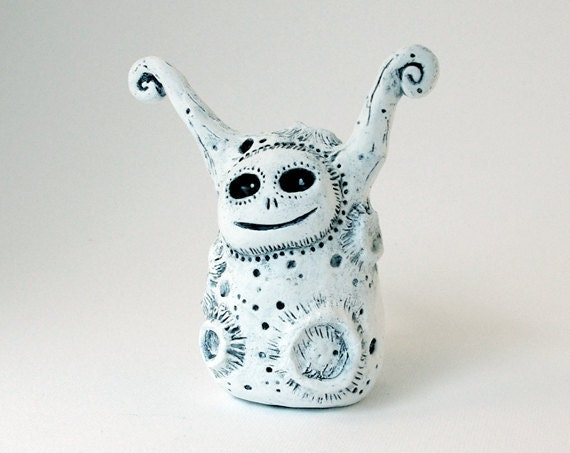 Moon Monster Art Object Figurine Clay Sculpture