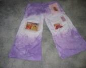 handmade Rainbow Brite raver Rave Pants cotton hand dyed wideLeg Purple lady hippie gift