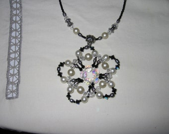 hand Beaded Flower black white Necklace pearl crystal one of kind Christmas gift