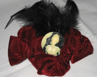 Vintage Red Velvet Cameo Feathers Steampunk Goth Hair Ornament Barrett