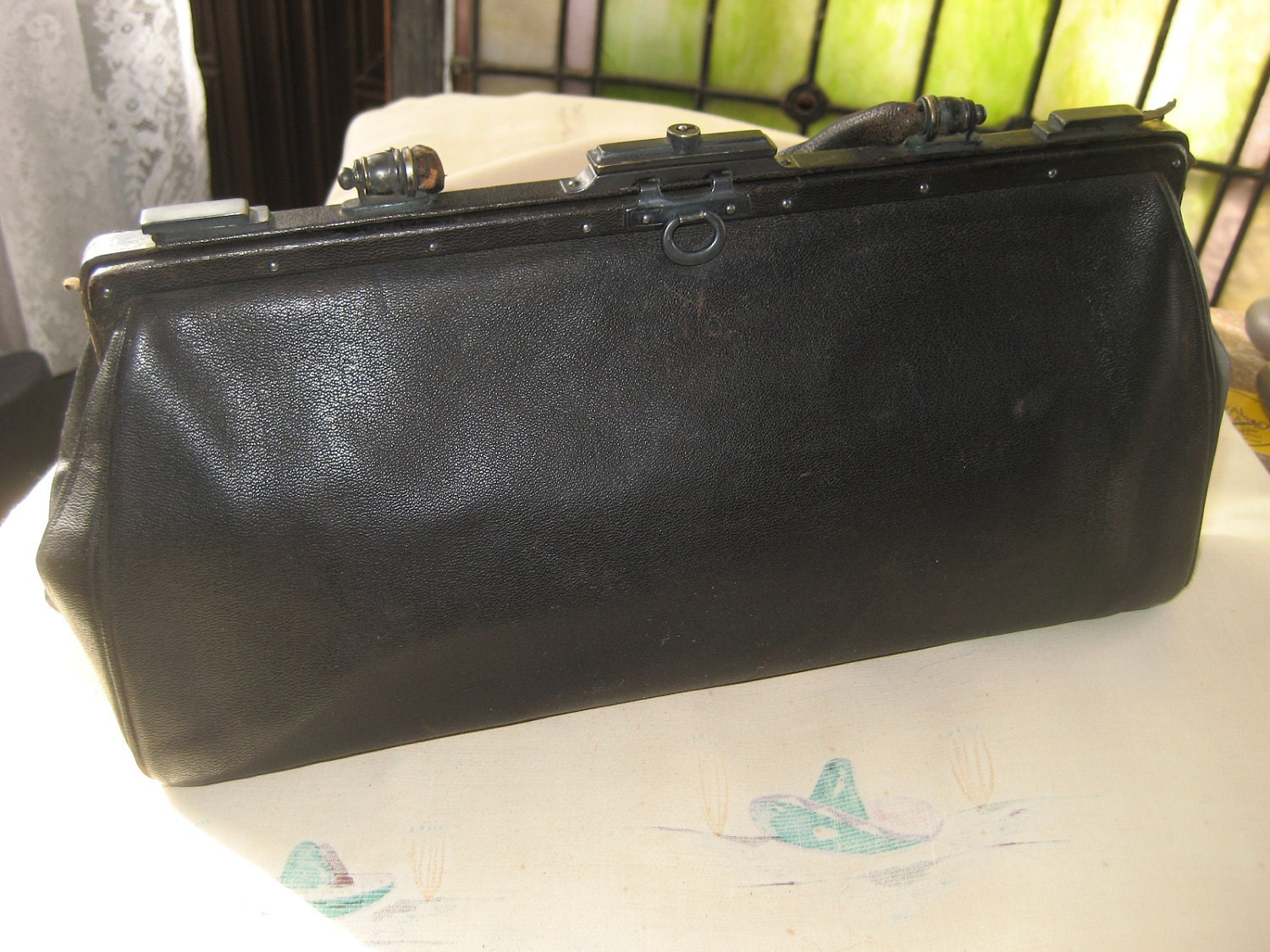 Items Similar To Hold Antique Victorian Black Leather